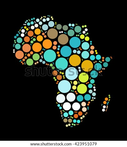 Africa Map Shape Design By Color Stock Illustration 423951079