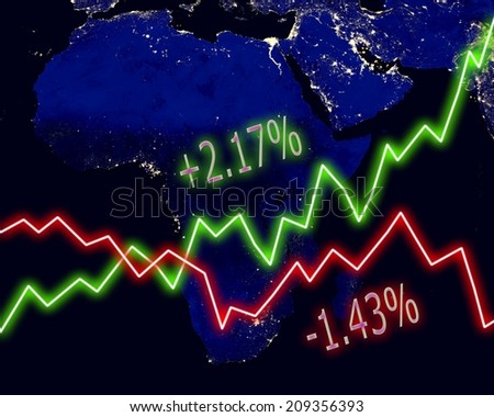 Africa map stock market chart numbers graph background. Elements of this image furnished by NASA.
