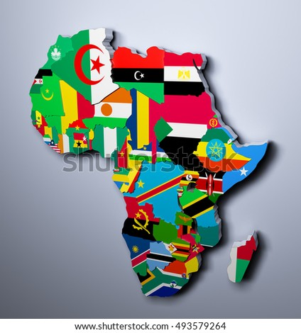 AFRICA MAP WITH FLAGS OF THE COUNTRIES 3d illustration