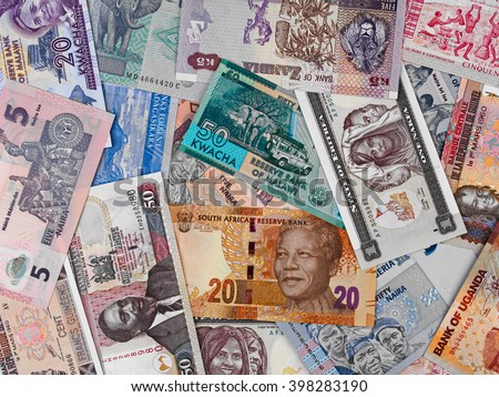Africa money, heap of various african banknotes, currency background - stock photo