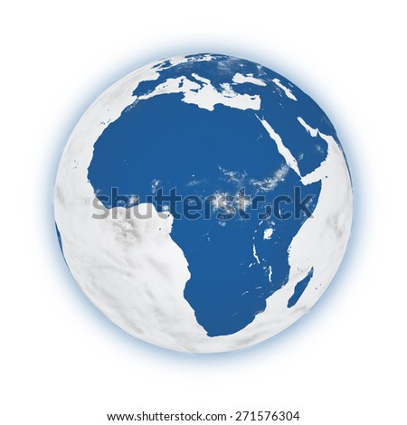 Africa on blue planet Earth isolated on white background. Highly detailed planet surface. Elements of this image furnished by NASA. - stock photo