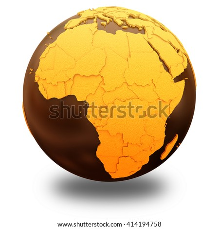 Africa on chocolate model of planet Earth. Sweet crusty continents with embossed countries and oceans made of dark chocolate. 3D illustration isolated on white background with shadow. - stock photo