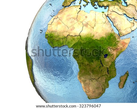 Africa on highly detailed planet Earth with embossed continents and country borders. Elements of this image furnished by NASA.