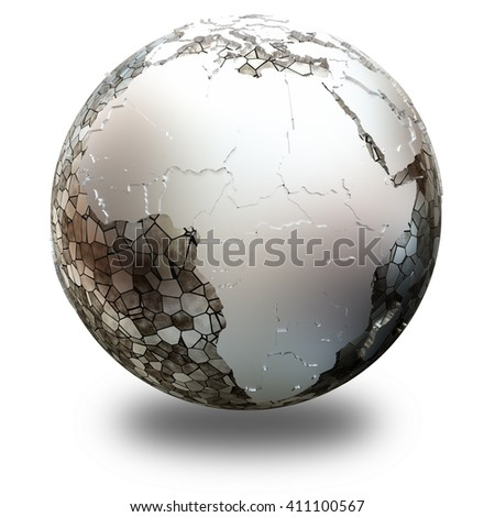 Africa on metallic model of planet Earth. Shiny steel continents with embossed countries and oceans made of steel plates. 3D illustration isolated on white background with shadow.