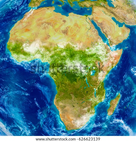 Africa on physical world map 3 d stock illustration 626623139 africa on physical world map 3d illustration with detailed planet surface elements of this gumiabroncs Image collections