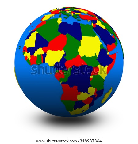 Africa on political globe, illustration isolated on white background with shadow - stock photo
