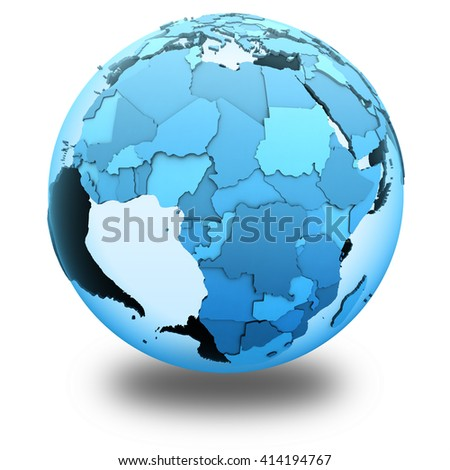 Africa on translucent model of planet Earth with visible continents blue shaded countries. 3D illustration isolated on white background with shadow.