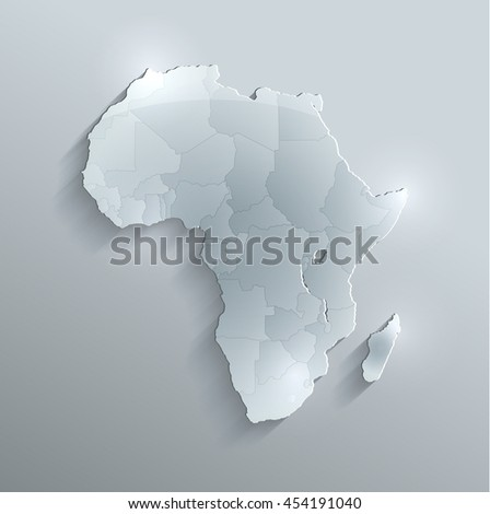 Africa political map flag glass card paper 3D raster individual states separate - stock photo