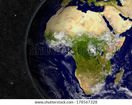 Africa region on planet Earth from space with stars in the background. Elements of this image furnished by NASA. - stock photo