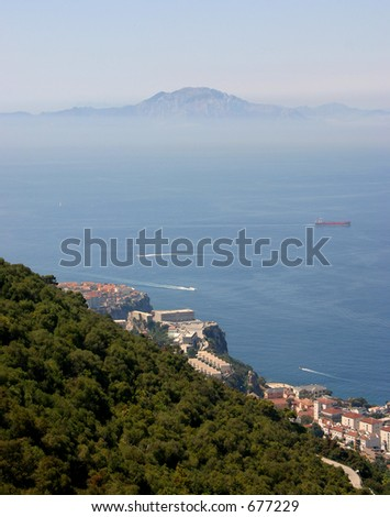 Africa seen from Gibraltar - stock photo