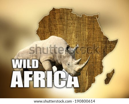 Africa Wildlife Map Design with rhino on brown background - stock photo