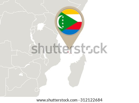 Africa with highlighted Comoros map and flag