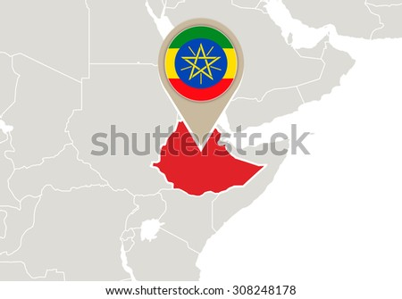 Africa with highlighted Ethiopia map and flag, Rasterized Copy - stock photo
