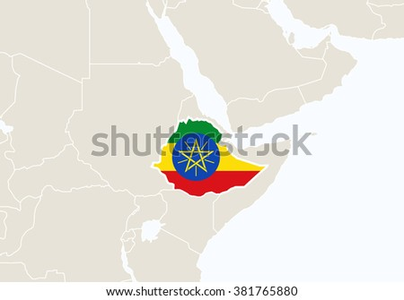 Africa with highlighted Ethiopia map. Rasterized Copy.  - stock photo