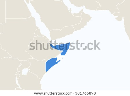 Africa with highlighted Somalia map. Rasterized Copy.  - stock photo