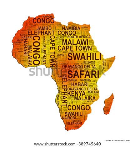Africa Word Art Map Illustration - stock photo