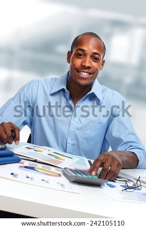 African-American Accountant business man working in office - stock photo