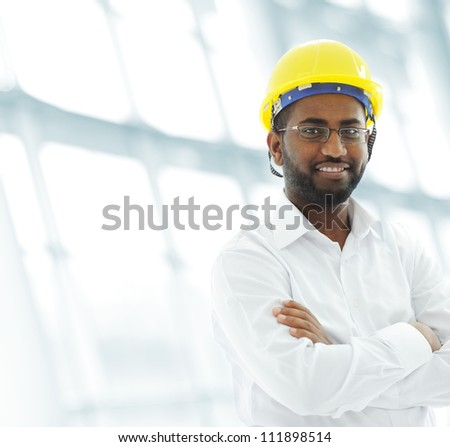 African american architect engineer at working place - stock photo