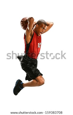 African American basketball player jumping isolated over white background - stock photo