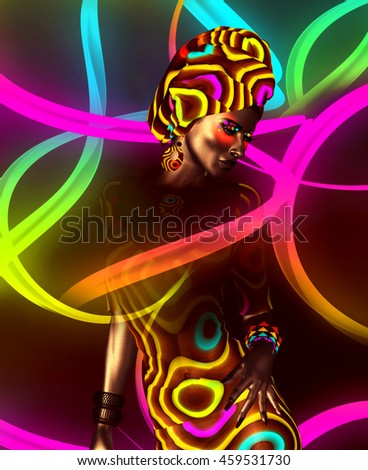 African American Beauty. Perfect for expressing themes of fashion,diversity,hairstyles, beauty and makeup. On a colorful abstract background.It's a 3d digital art render