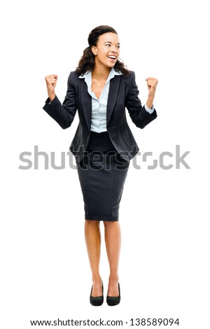 african american black businesswoman winning success isolated - stock photo