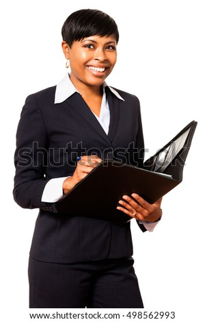 African American Black Businesswoman with notebook on white