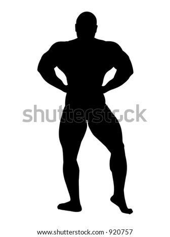 african-american body builder posing - stock photo