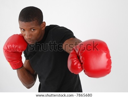 African american boxing, punshing - stock photo
