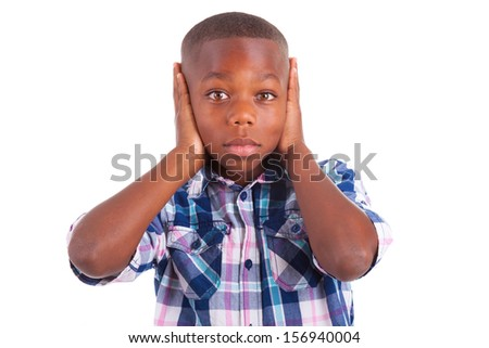 African American boy hiding ears, isolated on white background  - Black people - stock photo