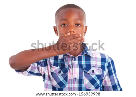 African American boy hiding mouth, isolated on white background  - Black people - stock photo