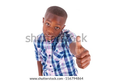 African American boy making thumbs up, isolated on white background - Black people - stock photo