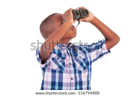 African American boy using binoculars, isolated on white background - Black people - stock photo