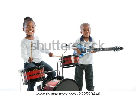 African American Brother and Sister Playing Music Instrument Set Isolated on White Background