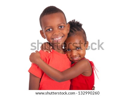 african american brother and sister together isolated - stock photo