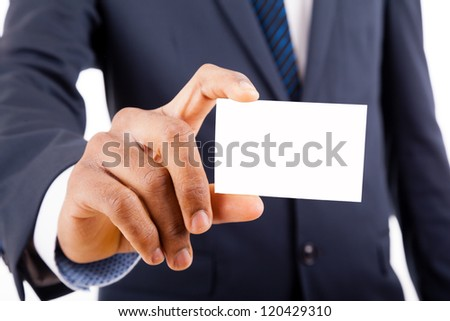 African American business man in suit showing his business card - stock photo