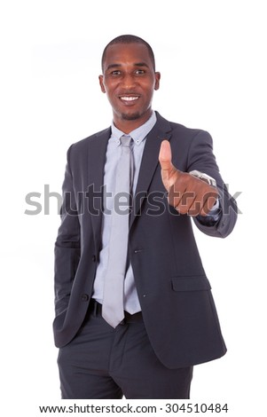 African american business  man making thumbs up gesture over white background - Black people