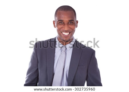 African american business man over white background - Black people - stock photo