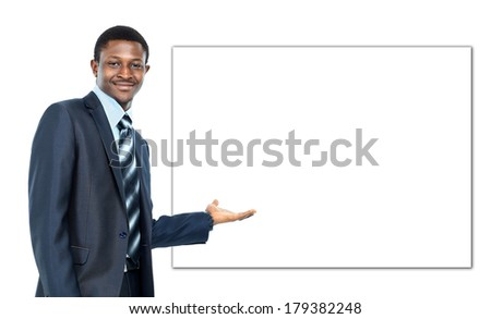 african american business man showing blank signboard, isolated over white background - stock photo