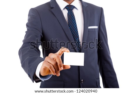 African American business man showing his business card, isolated on white - stock photo