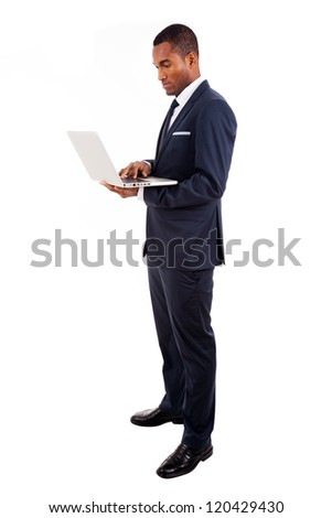 African American business man with laptop, isolated on white - stock photo