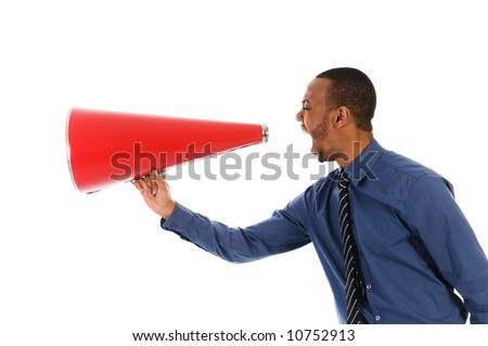African-american business man yelling in a red megaphone - stock photo
