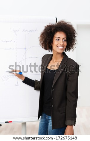 African American business woman giving a presentation standing in front of a flip chart with a marker pen in her hand turning to smile at her work colleagues - stock photo