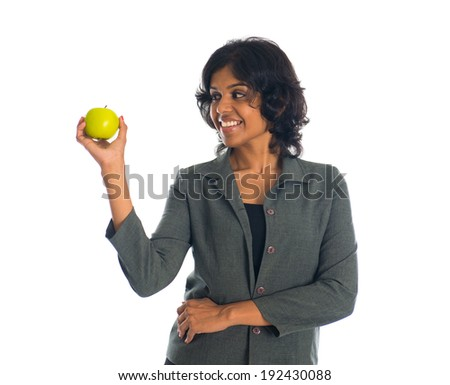 african american business woman holding a green apple work health balance