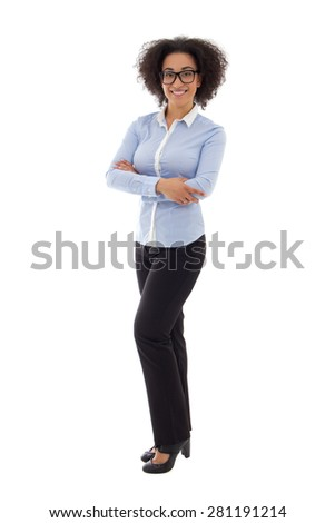 african american business woman isolated on white background - stock photo