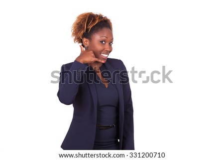 African American business woman making a phone call  sign with her hand, isolated on white background - stock photo