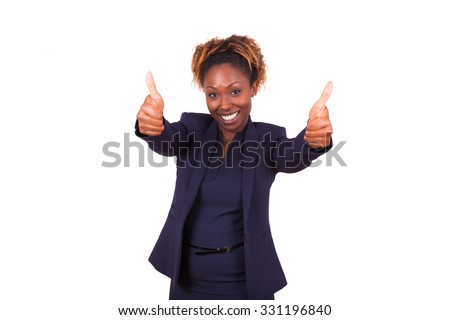 African American business woman making thumbs up gesture, isolated on white background - stock photo
