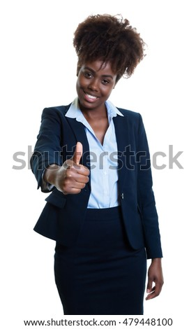 African american business woman showing thumb