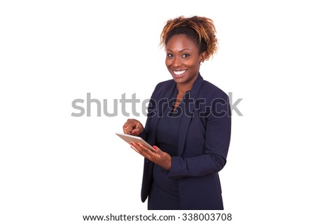 African American business woman using a tactile tablet , isolated on white background - stock photo