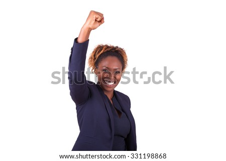 African American business woman with clenched fist, isolated on white background - stock photo