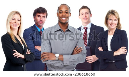 African-American Businessman and group of business people - stock photo
